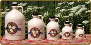 Big Tree Maple Sells Pure New York Maple Syrup In 5 Different Size Jugs and One Table Size Squeeze Bottle