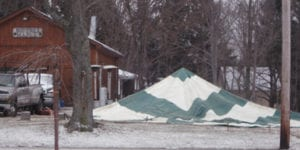 Preparing the tent for Maple Weekend