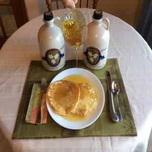 photo of a delicious Pancake breakfast served with maple syrup from Big Tree Maple